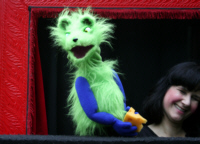 Grizzle the Rat and puppeteer Melanie Zimmer. Photo by Karen Spychalski.